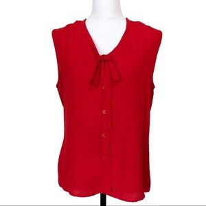 DKNY Silk Button Up Sleeveless Blouse Bow Neck Red